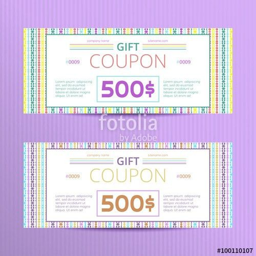 Vector illustration of gift voucher template collection. Voucher ...