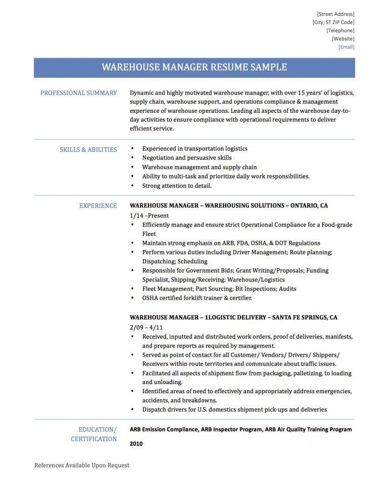 Warehouse Manager Resume [Template.billybullock.us ]