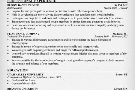 An Example For Dance Audition Resume - Reentrycorps