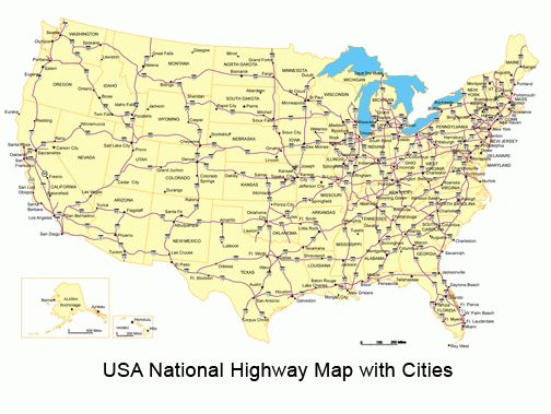 Road Map Of Usa With States And Cities Road Map Of Usa With ...