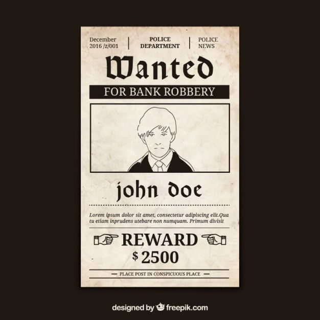 Wanted poster with criminal and great reward Vector | Free Download