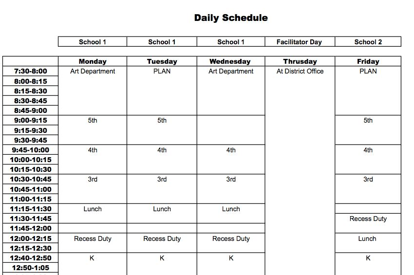 Daily Schedule Download - The Art of Ed