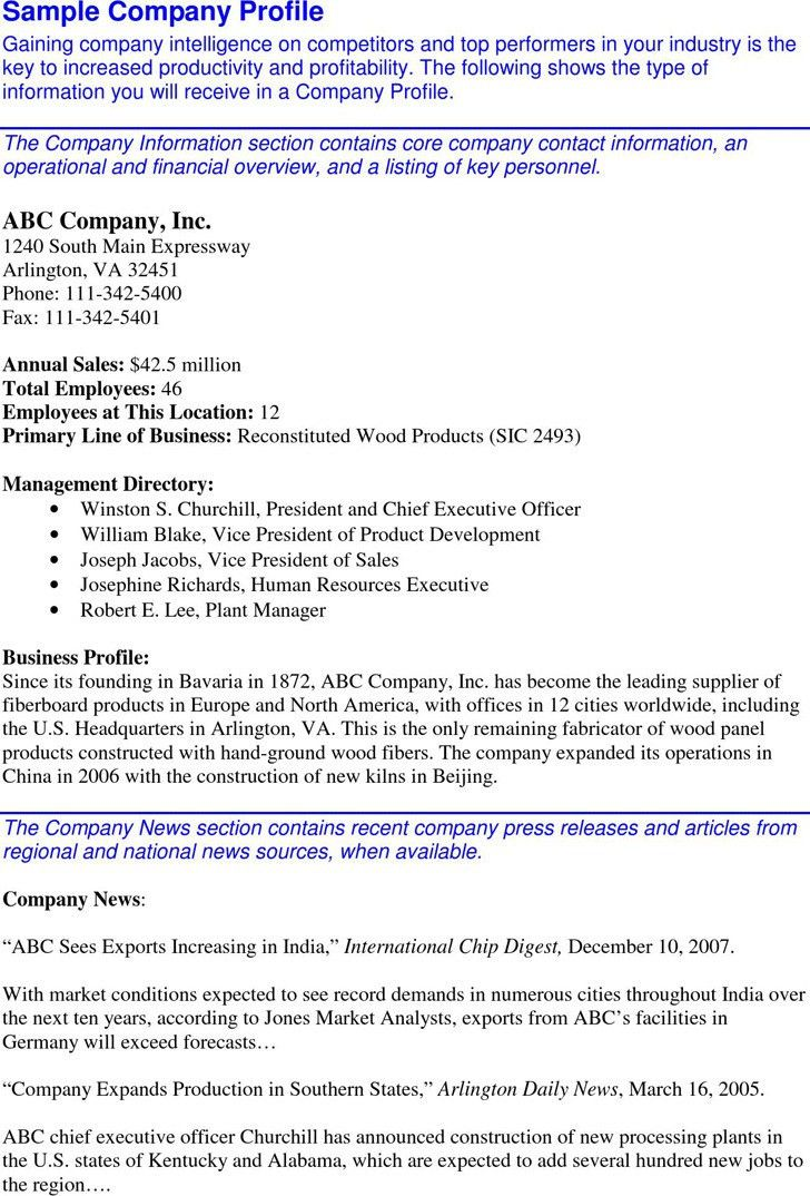 Business Profile Template. Company Profile Of Insert Company Name ...