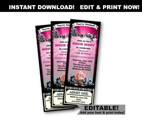 Movie Ticket Invitation Birthday Movie Night girl pink purple