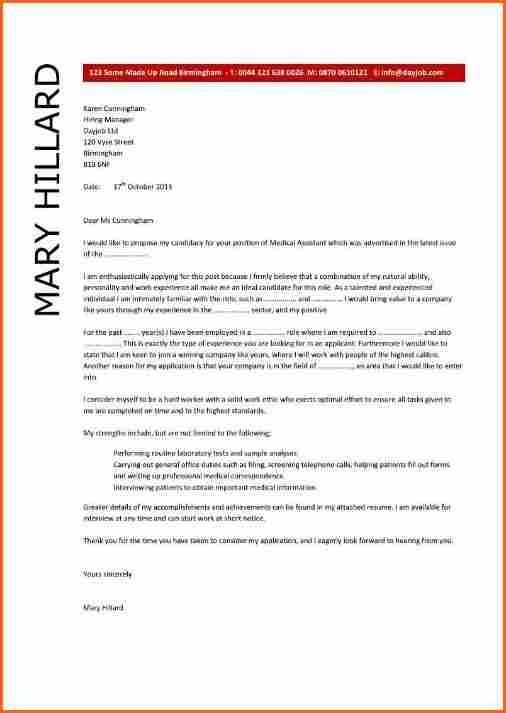 7 cover letter sample for medical assistant - Budget Template Letter