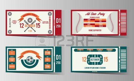Football, Soccer And Baseball Ticket Design Template. Card ...