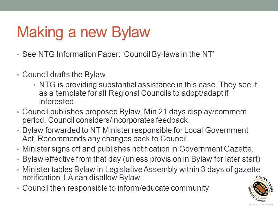 DOG BYLAWS FOR REMOTE COMMUNITIES By Glenn Marshall Director Works ...