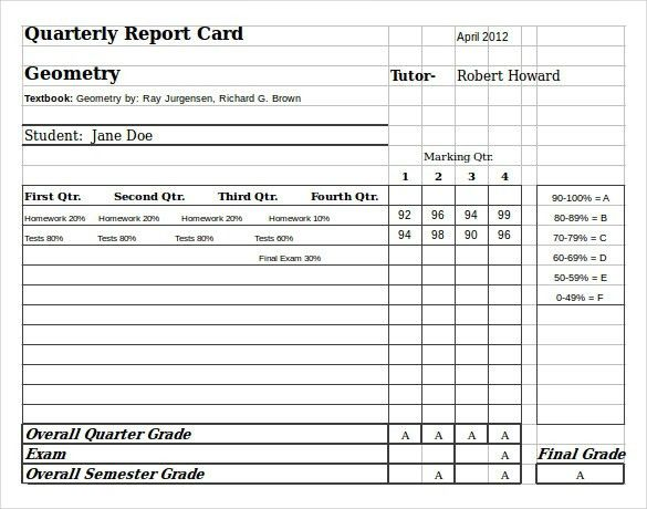 Progress Report Card Template. Report Card Templates For ...