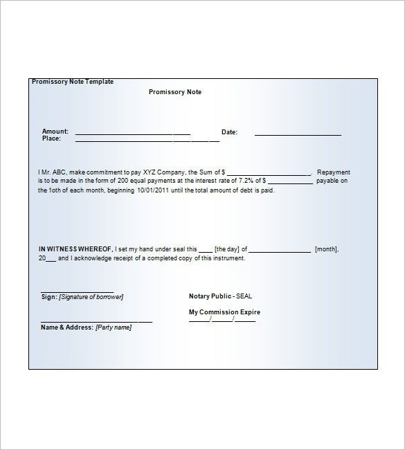 Blank Promissory Note – 8+ Free Word, Excel, PDF Format Download ...