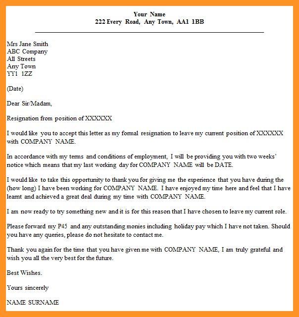 2 weeks notice letter of resignation | bio letter format