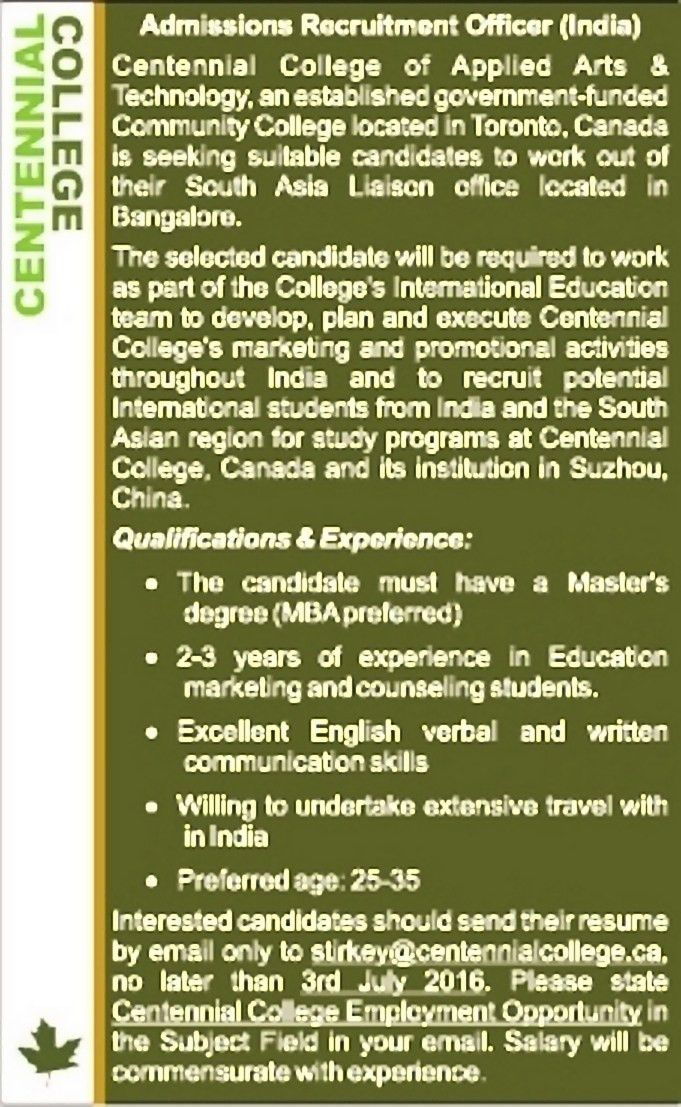 Job - Admissions Recruitment Officer - Bengaluru / Bangalore ...