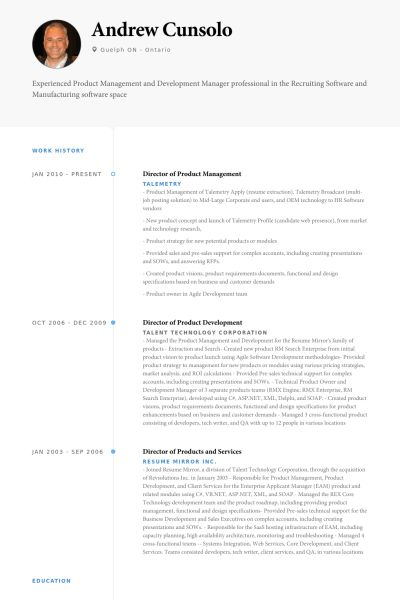 Management Resume samples - VisualCV resume samples database