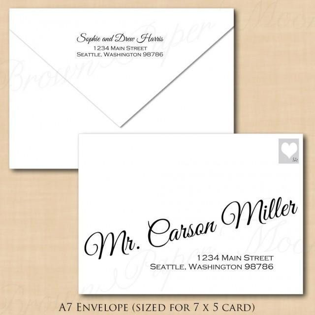 Change All Colors! Calligraphy Address Wedding Envelope Template ...