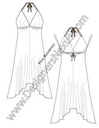 V54 Handkerchief Hem Halter Dress Flat Fashion Sketch Dress ...
