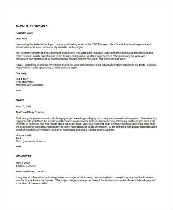 7+ Professional Reference Letter Templates – Free Sample, Example ...