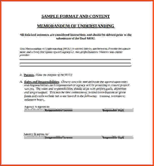 Memorandum Of Understanding Template.Sample Memorandum Of ...