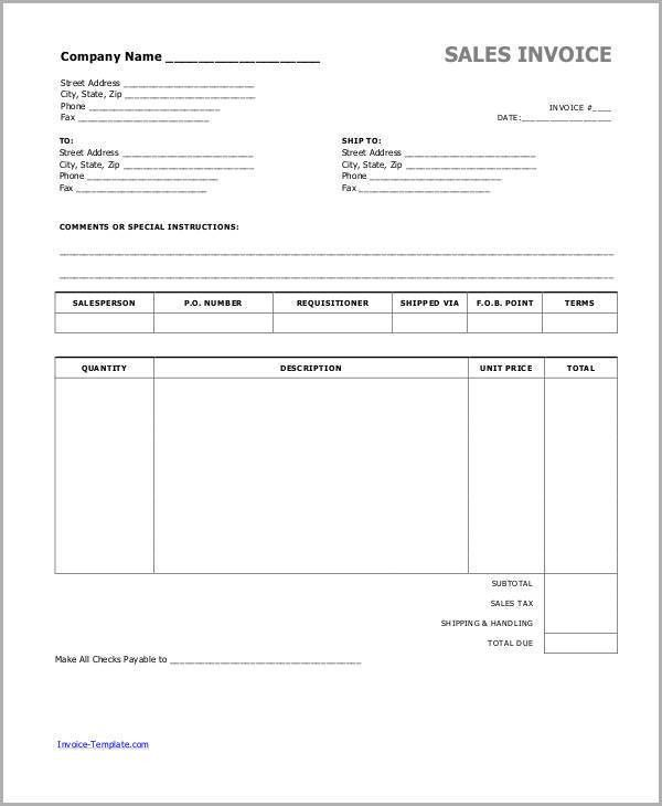 sales invoices template