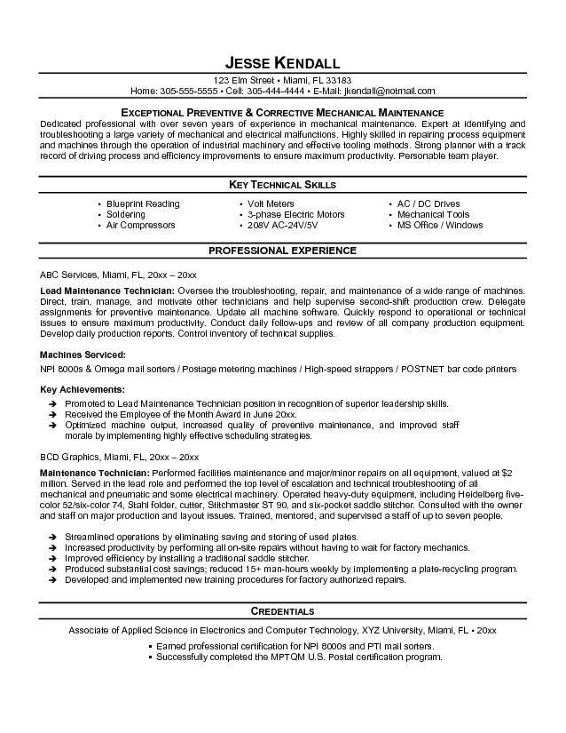 Free Maintenance Technician Resume Example