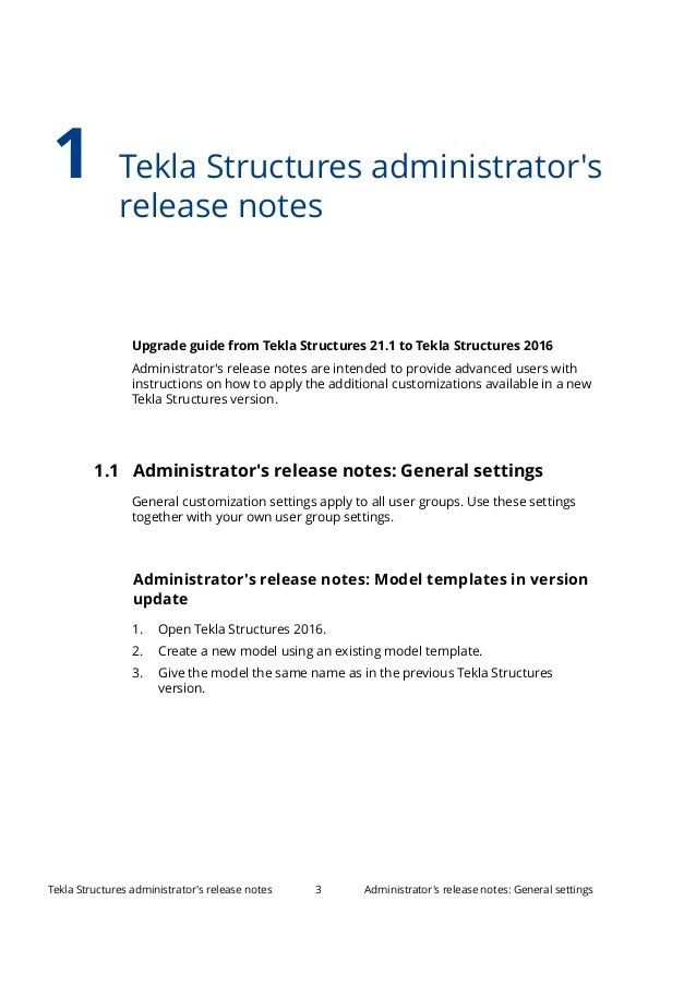 Tekla structures 2016 administrator's release notes