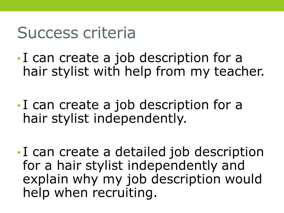 JOB DESCRIPTION- COURSEWORK TASK TUESDAY 16 TH APRIL Learning ...