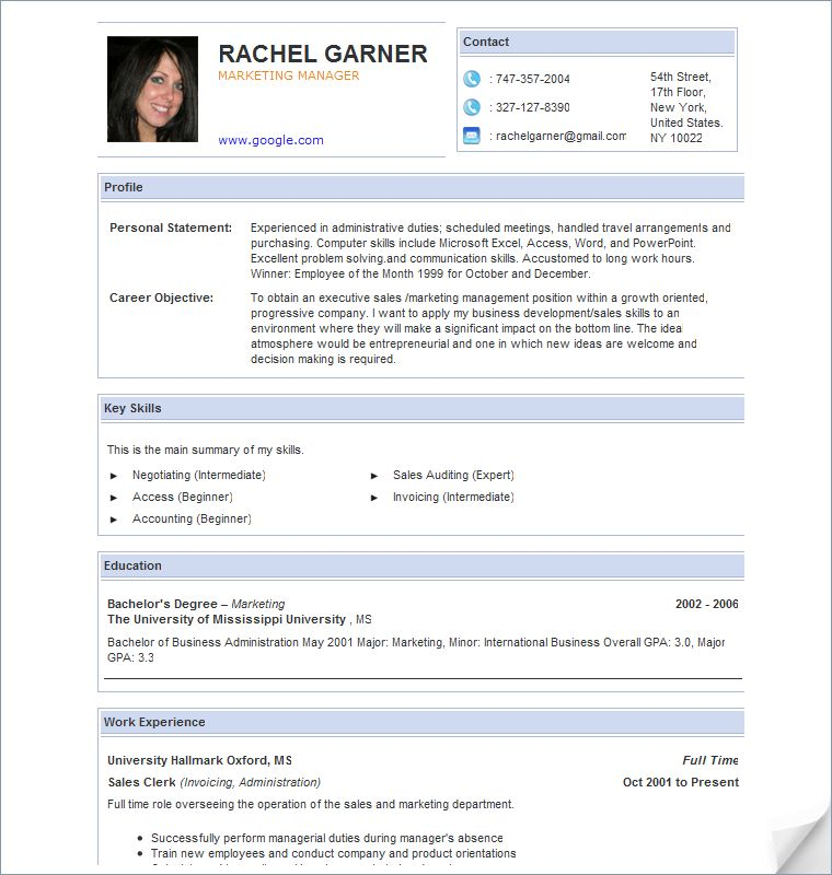 pic, profile (personal statement, career objective), key skills ...