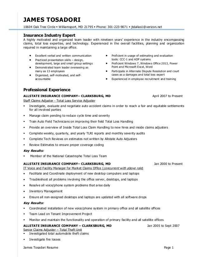 insurance adjuster resumes
