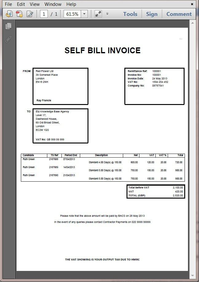 Hmrc Invoice Example | printable invoice template