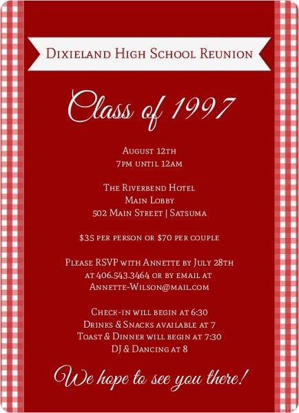 High School & College Class Reunion Invitations