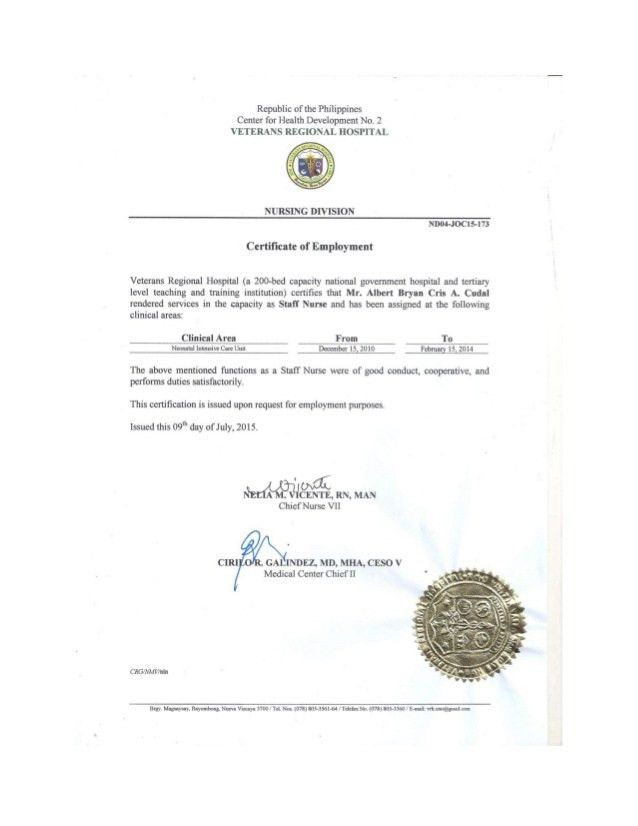 Certificate of employment with Job Description and Recommendation L…