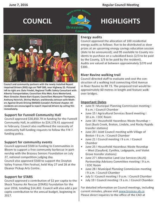 Meeting Highlights, Minutes + Agendas | Brazeau County