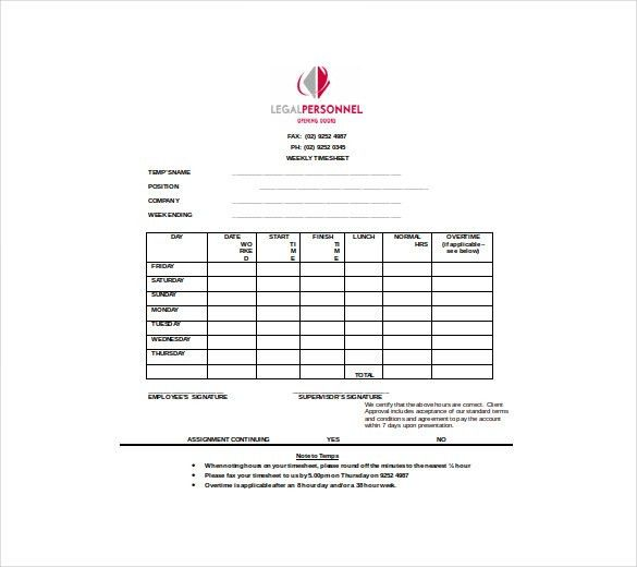 TimeSheet Template – 21+ Free Word, Excel, PDF Documents Download ...