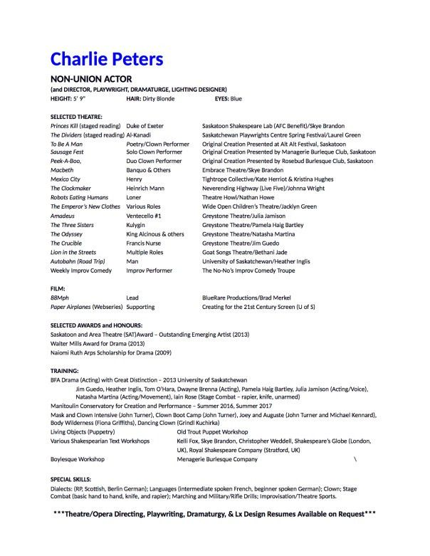 Beginner Theater Resume. How To Make A Beginner S Acting Resume W .