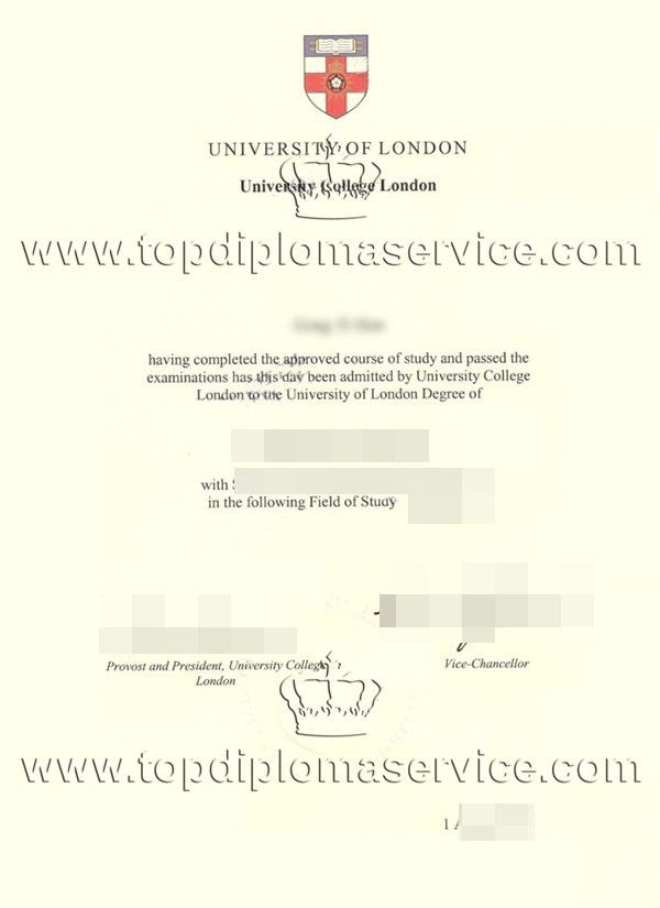 University of London University College London degree certificate ...
