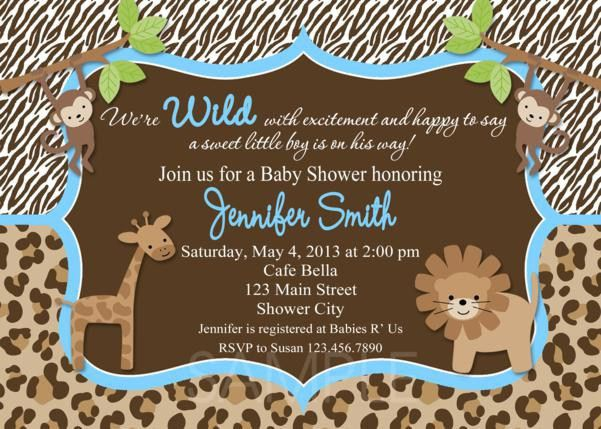 Safari Theme Baby Shower Invitations | christmanista.com