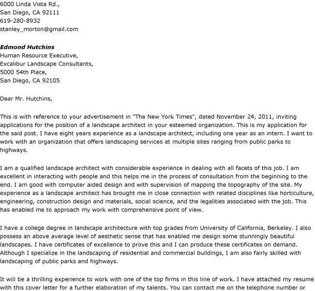 landscape architect cover letter architect cover letters