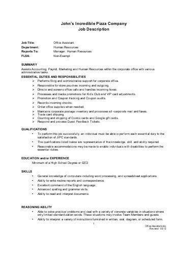 Office Assistant Job Description. administrative assistant duties ...