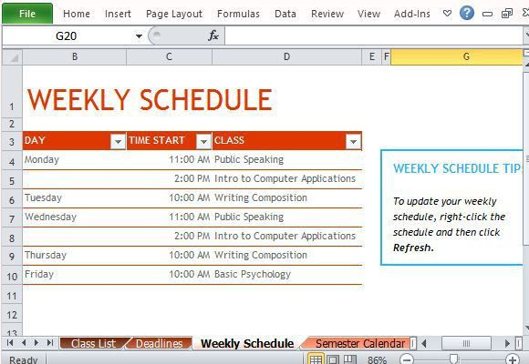 How To Create Semester Schedule in Excel