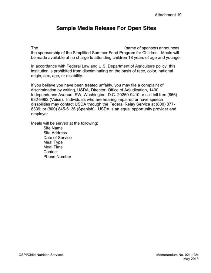 Media Release Cover Letter in Word and Pdf formats - page 2 of 3