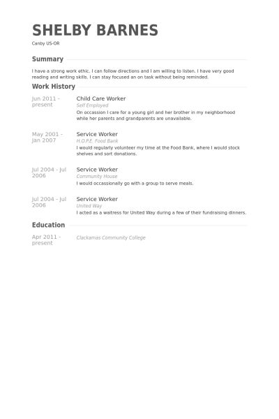 87 marvellous job resume samples free templates. child caregiver ...