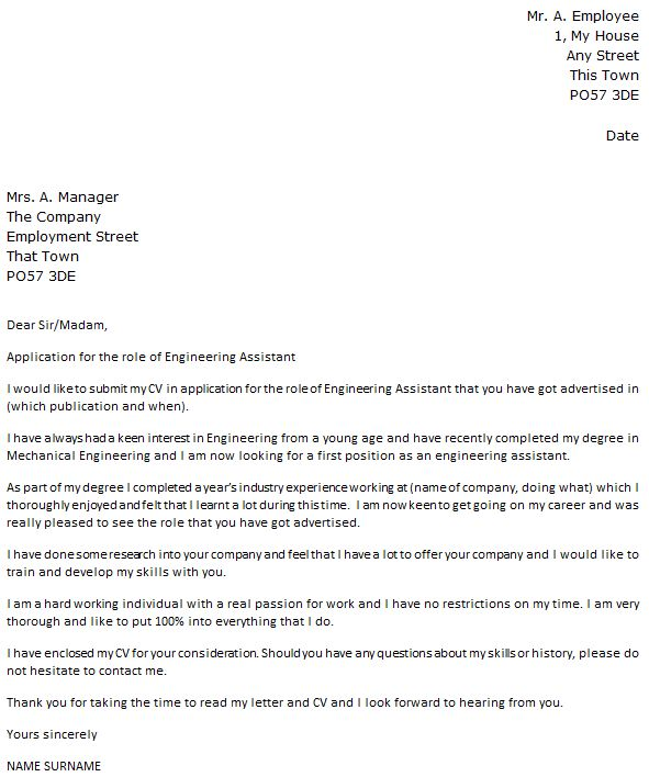 Engineering Assistant Cover Letter Example - icover.org.uk