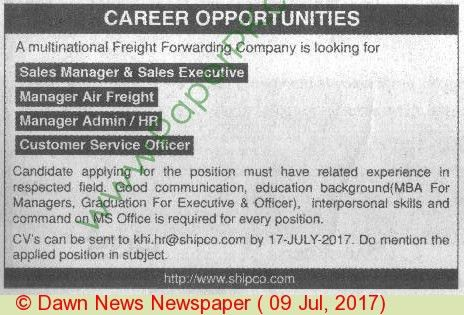 Multinational Freight Forwarding Company Pakistan Jobs on 09 July ...