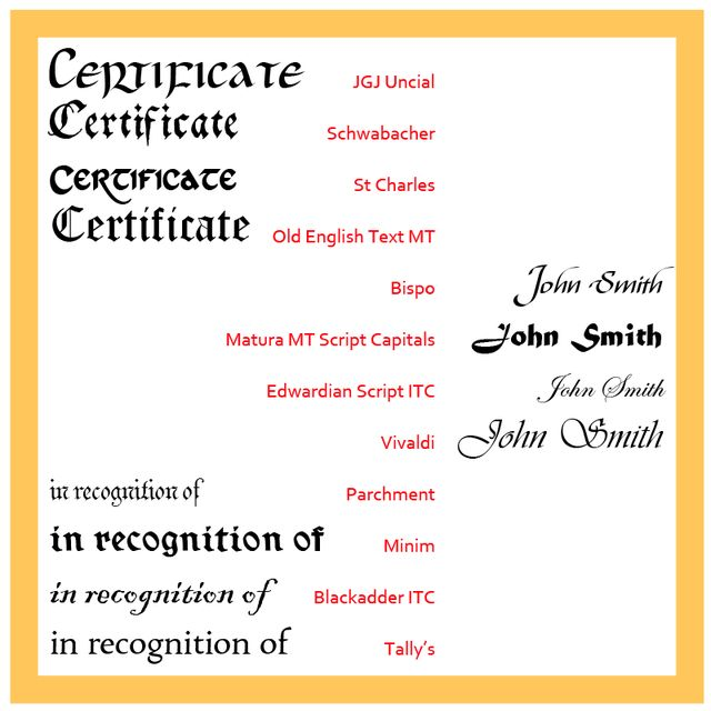 Choose These Fonts for a Traditional Certificate: Choose the Fonts ...