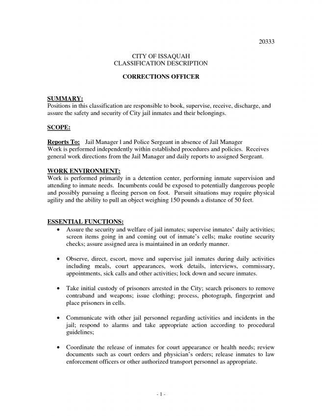 9 Correctional Officer Job Description Resume Job Duties summary ...