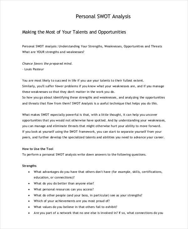 Personal SWOT Analysis Template - 18+ Examples in PDF, Word | Free ...