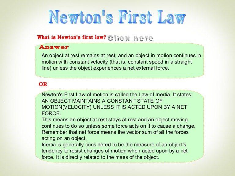 Newton's first law ,Net force, inertia ,equilibirum