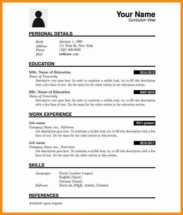 Format Of Cv Resume] Free Cv Template Curriculum Vitae Template