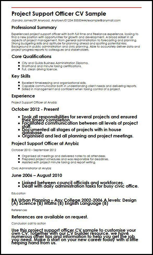 Project Support Officer CV Sample | MyperfectCV