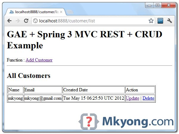 Google App Engine + Spring MVC, CRUD example with datastore low ...