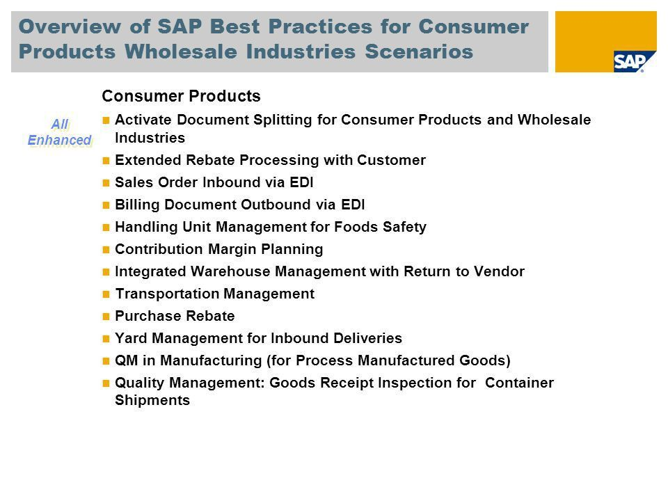 SAP Best Practices for Consumer Products and Wholesale Industries ...