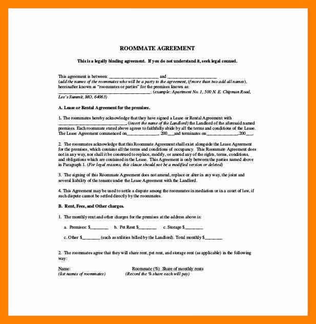 9+ roommate agreement form | resumes great